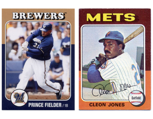 Of fathers sons baseball cards and intellectual property a thin white border surrounding the players pictures bubble lettered team names with shadows at the top of the card players names in a single colourmoves